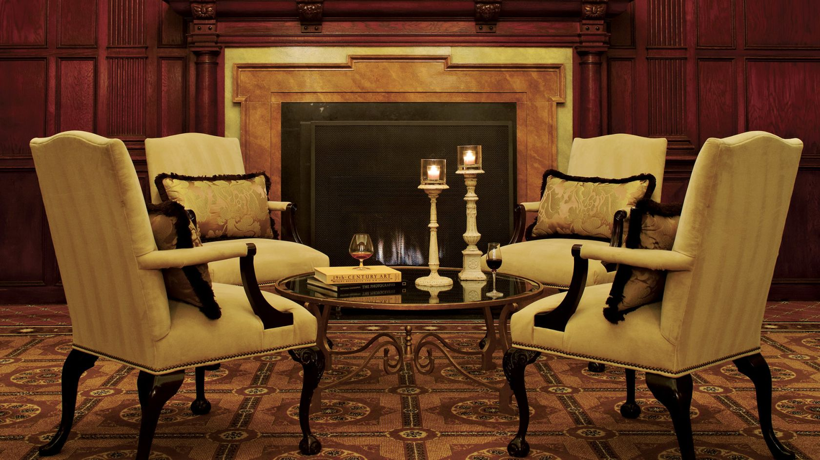 Hay-Adams room fireplace with chairs setting for 4