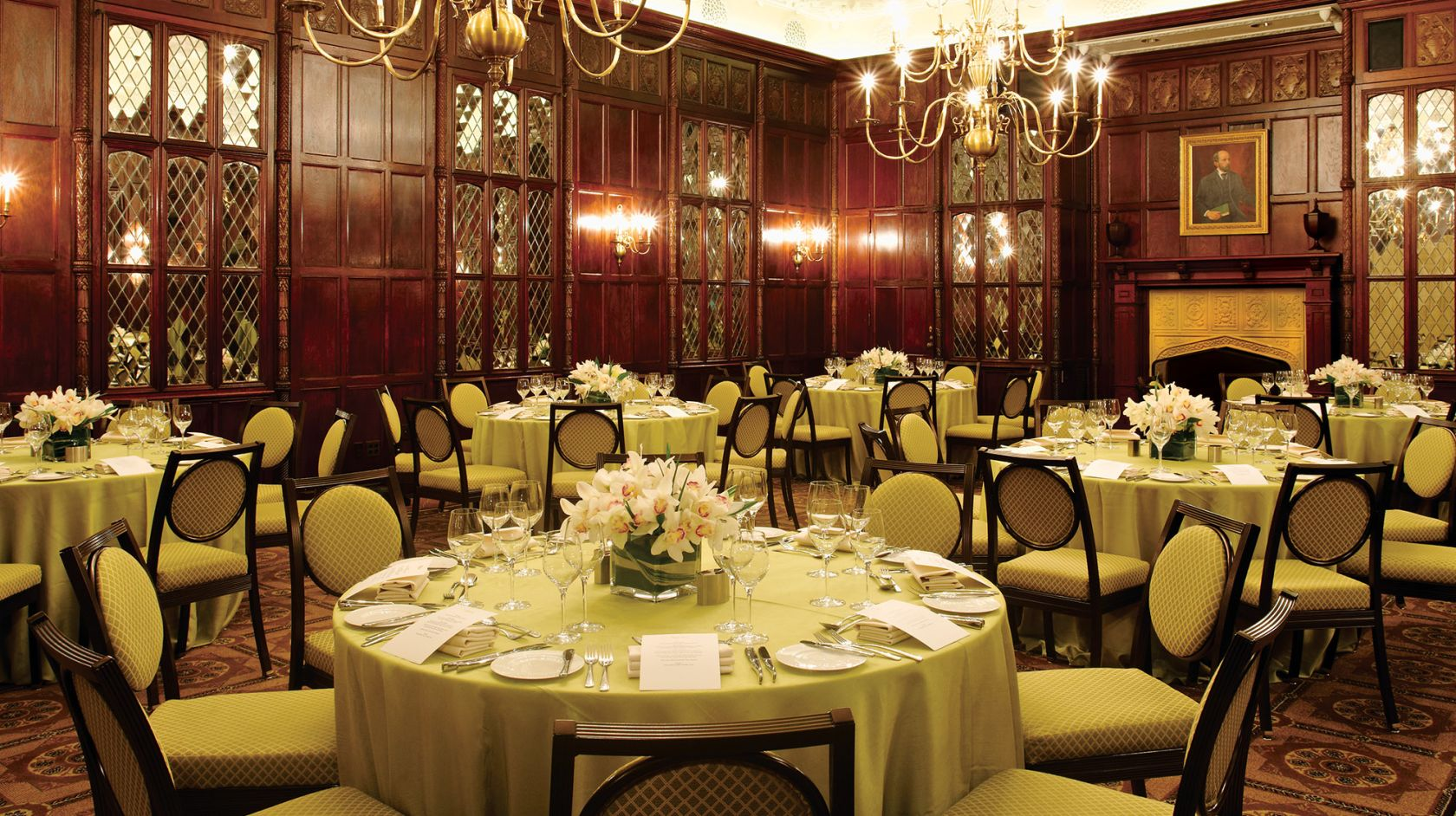 The Hay-Adams Room set up for a private event with circular tables