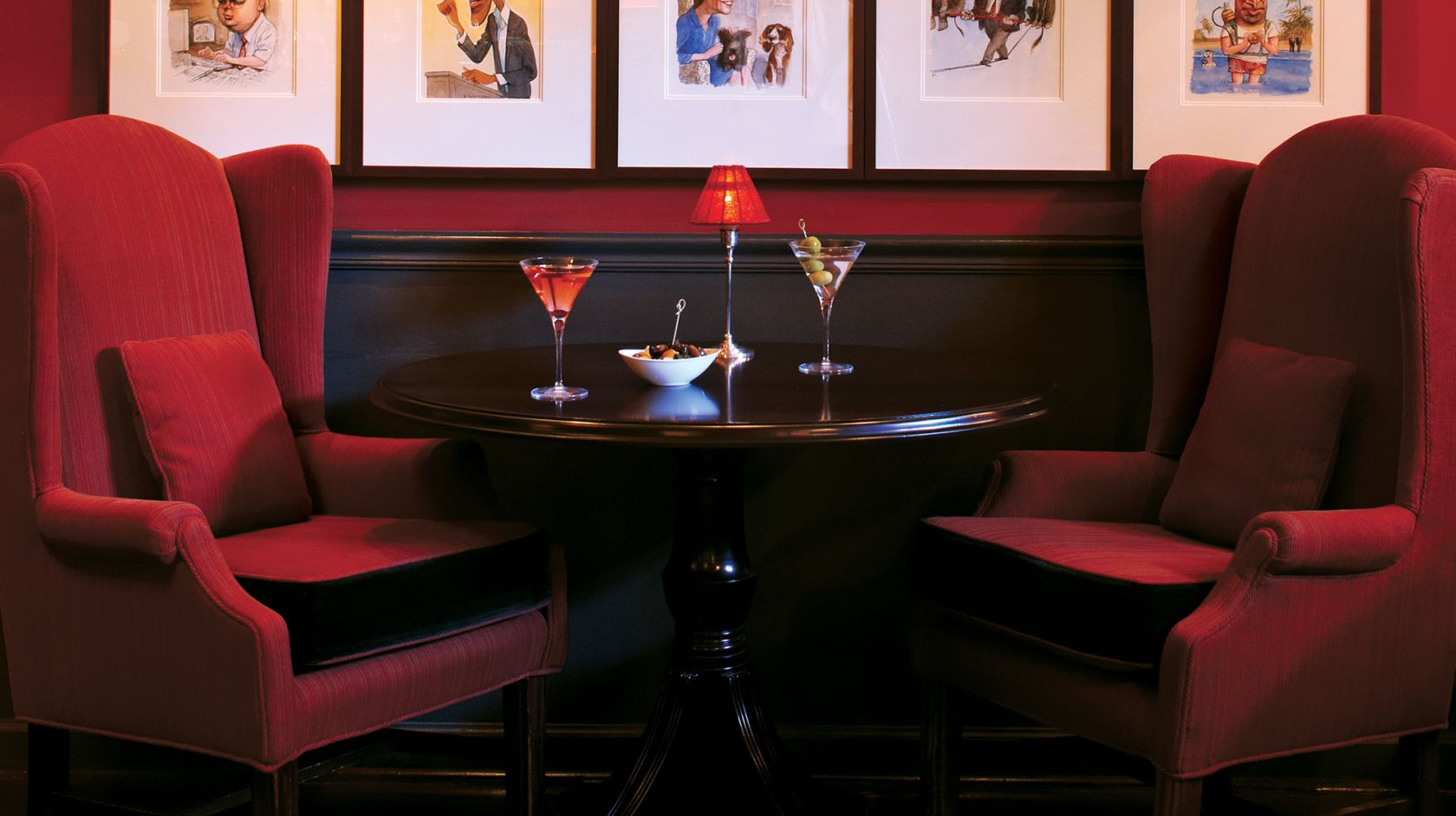 Private corner table for two at Off the Record