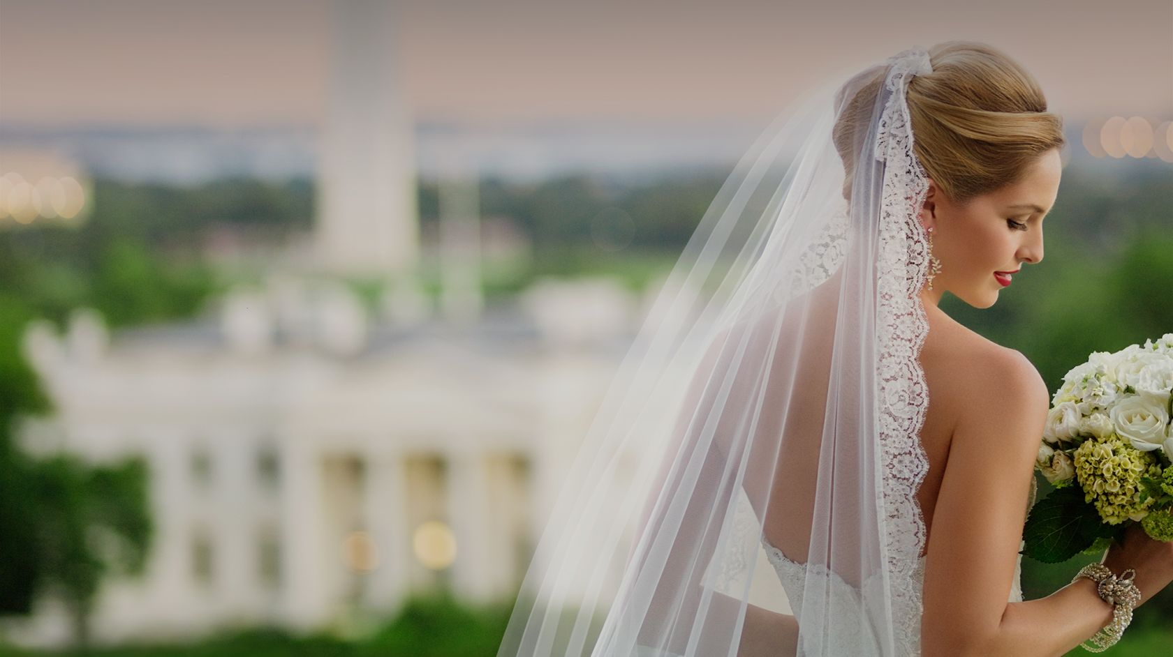 Bride Overlooking The White House at Top of the Hay