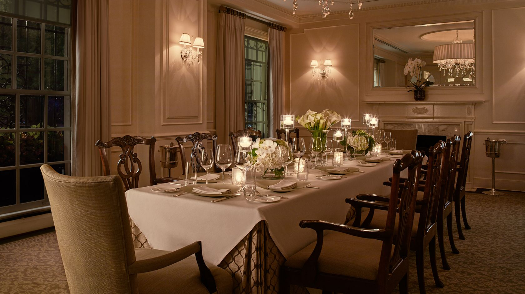 Private dining room table set for 10